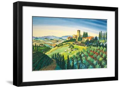 Tuscan Air - Tuscany Italy - Italian Villa, Vineyards, Cypress Trees-Robin Wethe Altman-Framed Premium Giclee Print
