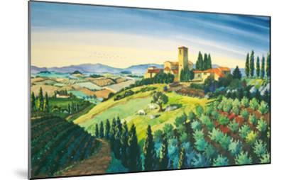 Tuscan Air - Tuscany Italy - Italian Villa, Vineyards, Cypress Trees-Robin Wethe Altman-Mounted Premium Giclee Print