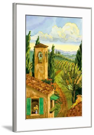 Tuscan Afternoon - Tuscany Italy - Italian Villa, Vineyards, Cypress Trees-Robin Wethe Altman-Framed Premium Giclee Print