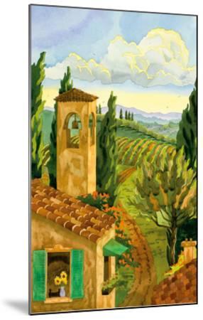 Tuscan Afternoon - Tuscany Italy - Italian Villa, Vineyards, Cypress Trees-Robin Wethe Altman-Mounted Premium Giclee Print