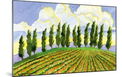 Cypress in the Clouds - Tuscany Italy - Italian Vineyards-Robin Wethe Altman-Mounted Premium Giclee Print