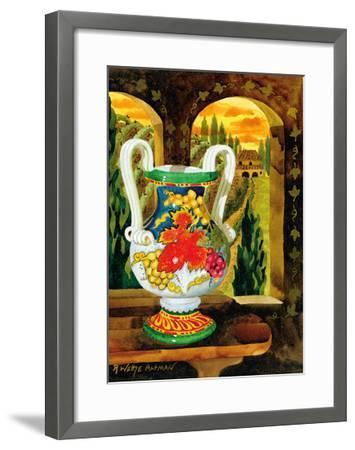 Vase with a View - Tuscany Italy - Italian Villa-Robin Wethe Altman-Framed Premium Giclee Print