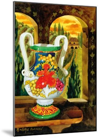 Vase with a View - Tuscany Italy - Italian Villa-Robin Wethe Altman-Mounted Premium Giclee Print