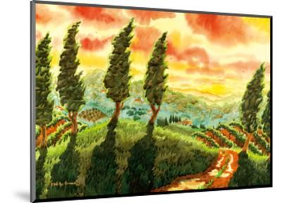Red Sky over Tuscany Italy - Italian Vineyards, Cypress Trees-Robin Wethe Altman-Mounted Premium Giclee Print
