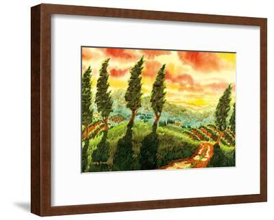 Red Sky over Tuscany Italy - Italian Vineyards, Cypress Trees-Robin Wethe Altman-Framed Premium Giclee Print