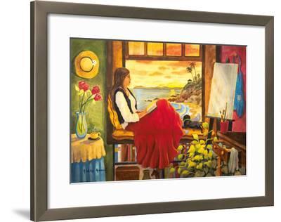 She's an Artist - Woman Watching Ocean Sunset with Dog-Robin Wethe Altman-Framed Premium Giclee Print