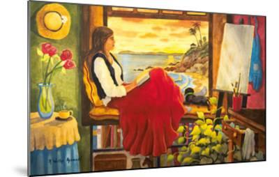 She's an Artist - Woman Watching Ocean Sunset with Dog-Robin Wethe Altman-Mounted Premium Giclee Print