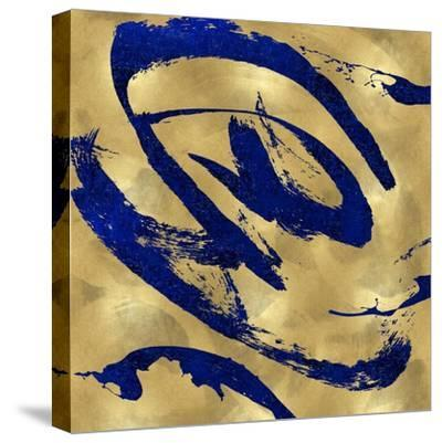 Feisty Blue on Gold-Jordan Davila-Stretched Canvas Print