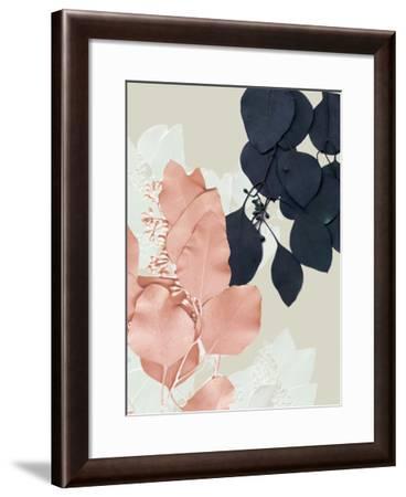 Indigo & Blush Leaves IV-Jennifer Goldberger-Framed Art Print