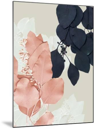 Indigo & Blush Leaves IV-Jennifer Goldberger-Mounted Art Print