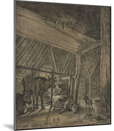 A Cow Calving-Paul Potter-Mounted Lithograph