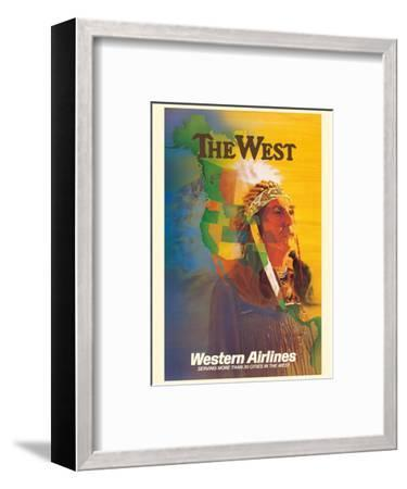 The West - Native American Indian Chief - Western Airlines-E^ Carl Leick-Framed Art Print