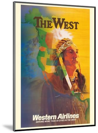 The West - Native American Indian Chief - Western Airlines-E^ Carl Leick-Mounted Art Print