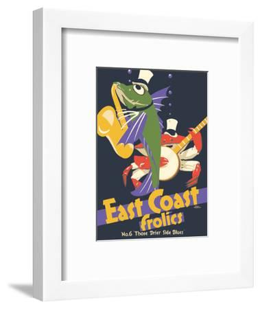 East Coast Frolics - London and North Eastern Railway - Fish Saxophone Crab Banjo-Frank Newbould-Framed Art Print