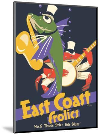 East Coast Frolics - London and North Eastern Railway - Fish Saxophone Crab Banjo-Frank Newbould-Mounted Art Print