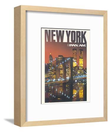 New York - Pan American World Airways - Brooklyn Bridge, Twin Towers-Pacifica Island Art-Framed Art Print
