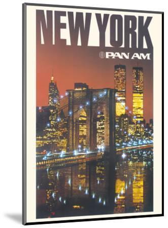 New York - Pan American World Airways - Brooklyn Bridge, Twin Towers-Pacifica Island Art-Mounted Art Print