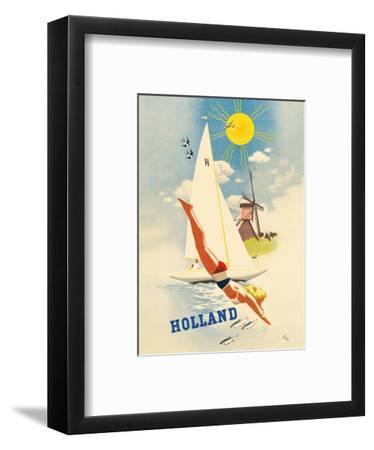 Holland - Dutch Windmill-Jan Wijga-Framed Art Print