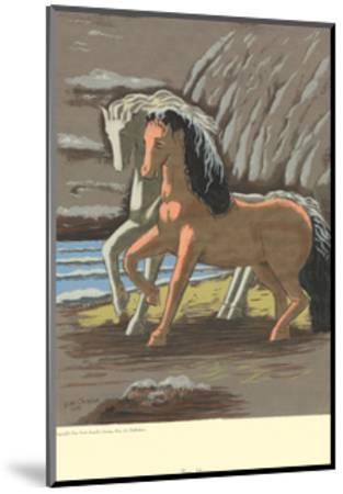 Two Horses-Giorgio De Chirico-Mounted Serigraph