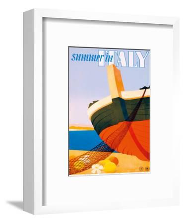 Summer in Italy - Bow of a Italian Fishing boat-Alfredo Lalia-Framed Art Print