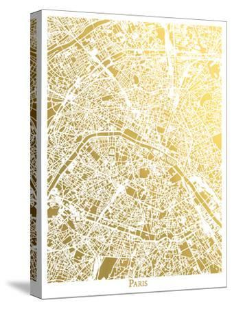 Paris New-The Gold Foil Map Company-Stretched Canvas Print