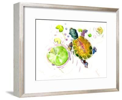 Baby Turtle Lotus-Suren Nersisyan-Framed Art Print