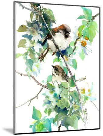 Sparrow Spring Blossom-Suren Nersisyan-Mounted Art Print