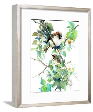 Sparrow Spring Blossom-Suren Nersisyan-Framed Art Print