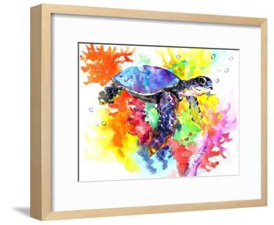 Coral Reef Sea Turtle 2-Suren Nersisyan-Framed Art Print