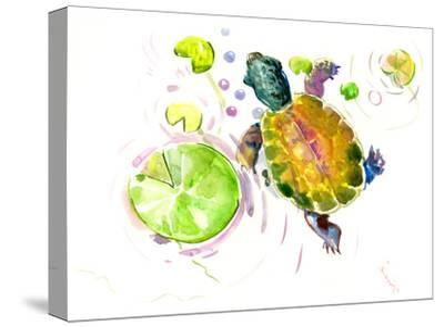 Baby Turtle Lotus-Suren Nersisyan-Stretched Canvas Print