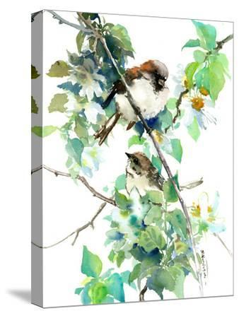 Sparrow Spring Blossom-Suren Nersisyan-Stretched Canvas Print