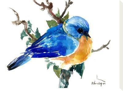 Bluebird-Suren Nersisyan-Stretched Canvas Print