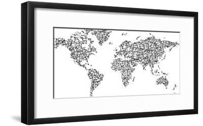 Hànzì Kanji World Map-Charlotte Bassin-Framed Giclee Print