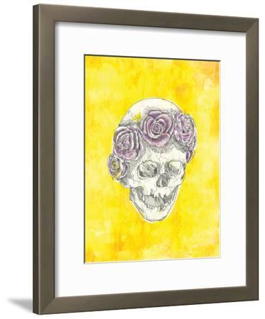 Skull with Rose Crown-Justine Bassani-Framed Art Print