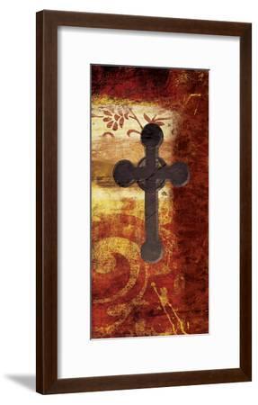 Cross On Red-Jace Grey-Framed Art Print