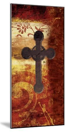 Cross On Red-Jace Grey-Mounted Art Print