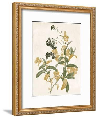 Green And Gold Flowers Two-Jace Grey-Framed Art Print