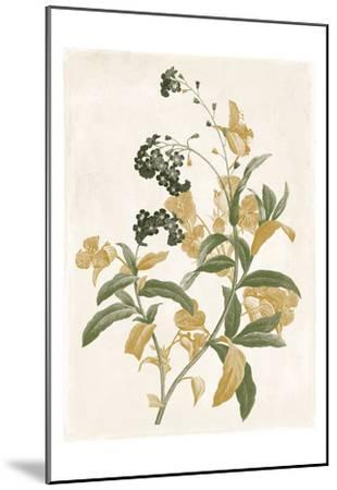 Green And Gold Flowers Two-Jace Grey-Mounted Art Print