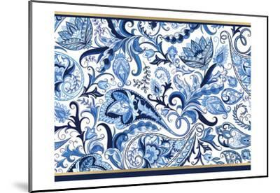 Blue and Gold Paisleys 1-Kimberly Allen-Mounted Art Print
