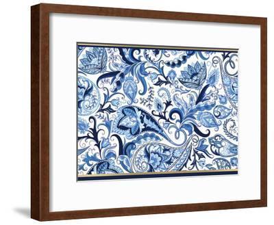 Blue and Gold Paisleys 1-Kimberly Allen-Framed Art Print