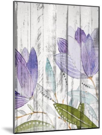 Purple Floral on Wood 1-Kimberly Allen-Mounted Art Print