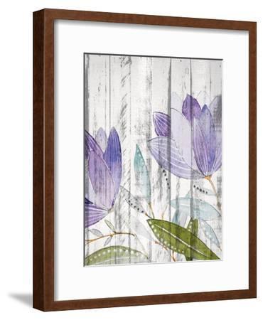 Purple Floral on Wood 1-Kimberly Allen-Framed Art Print