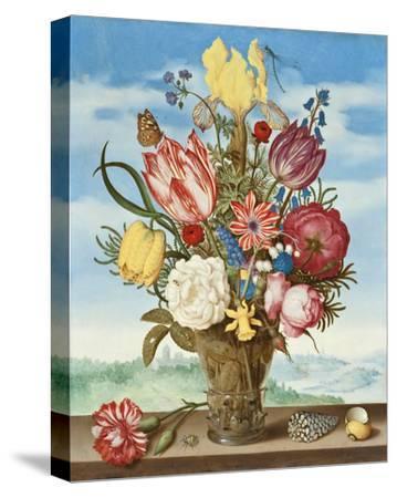 Ambrosius Bosschaert, Bouquet of Flowers on a Ledge-Dutch Florals-Stretched Canvas Print