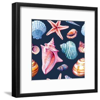Seashells Pattern Colorful Dark Repeat Tile-Sam Nagel-Framed Art Print