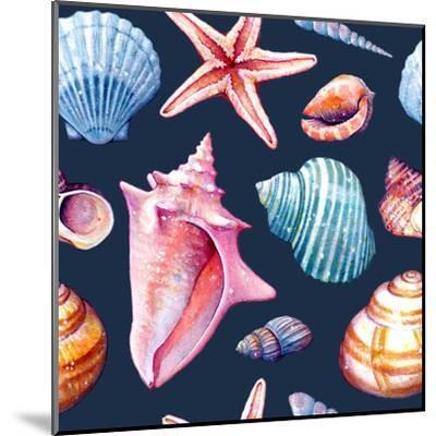 Seashells Pattern Colorful Dark Repeat Tile-Sam Nagel-Mounted Art Print