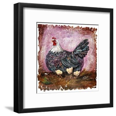Vintage Blue Hen With Chicks Fresco-Olena Art-Framed Art Print