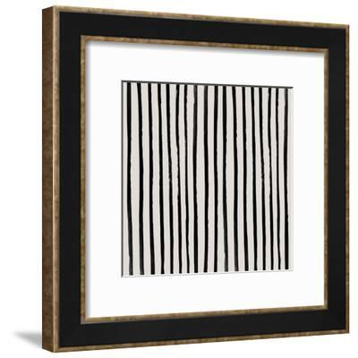 Vertical Black And White Watercolor Stripes-Leah Flores-Framed Art Print