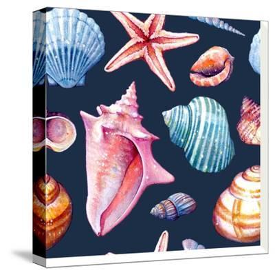 Seashells Pattern Colorful Dark Repeat Tile-Sam Nagel-Stretched Canvas Print
