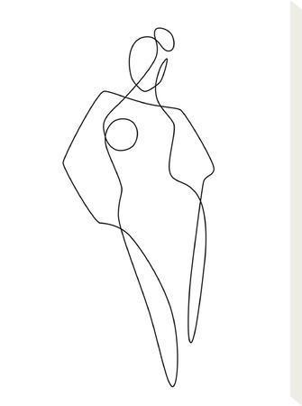 Continuous Line Female-Explicit Design-Stretched Canvas Print