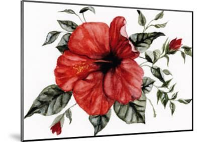 Red Hibiscus-Shealeen Louise-Mounted Art Print